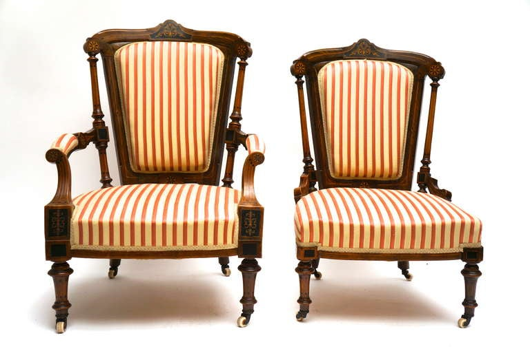 Refined Set of Two Victorian Low Chairs For Sale 2