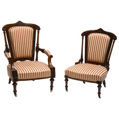 Refined Set of Two Victorian Low Chairs