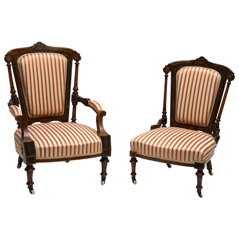Refined Set of Two Victorian Low Chairs For Sale