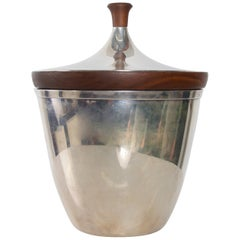 Refined Silver Ice Bucket Modern Walnut Wood Trim by International, 1960s