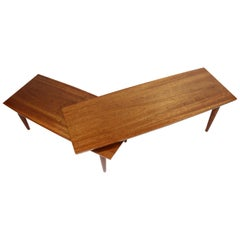 Refinished Mahogany Mid-Century Modern Pivoting Boomerang Swivel Coffee Table