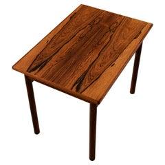Refinished Rectangular Mid-Century Modern Danish Rosewood Side Table