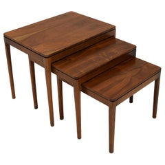 Refinished Set of 3 Nesting Tables in Walnut by Drexel