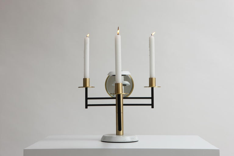 Lebanese Reflect Candelabra in Steel, Brass, Mirror and Carrara Marble by Studio A For Sale