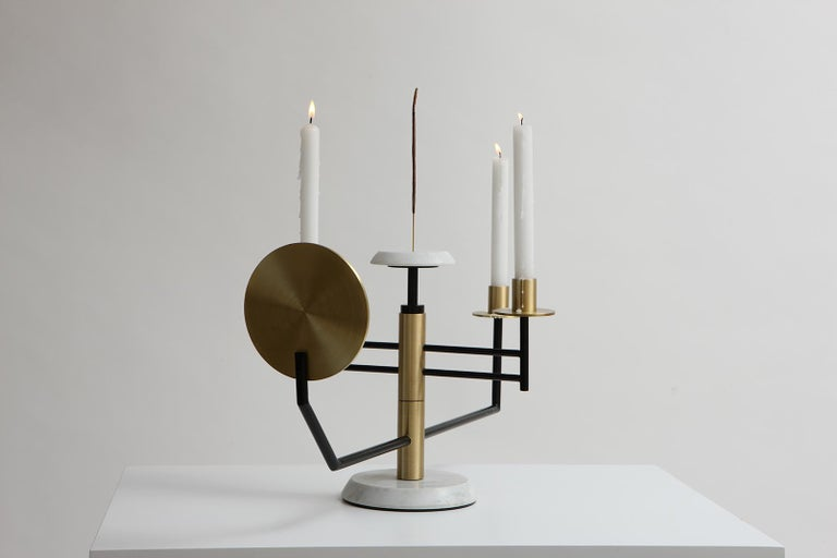 Reflect Candelabra in Steel, Brass, Mirror and Carrara Marble by Studio A In New Condition For Sale In Firenze, IT