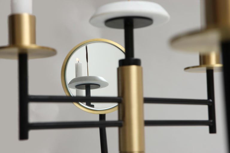 Contemporary Reflect Candelabra in Steel, Brass, Mirror and Carrara Marble by Studio A For Sale