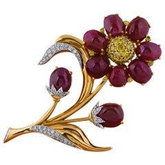 Reflection by Trabert & Hoeffer Mauboussin Ruby Diamond Gold Platinum Brooch