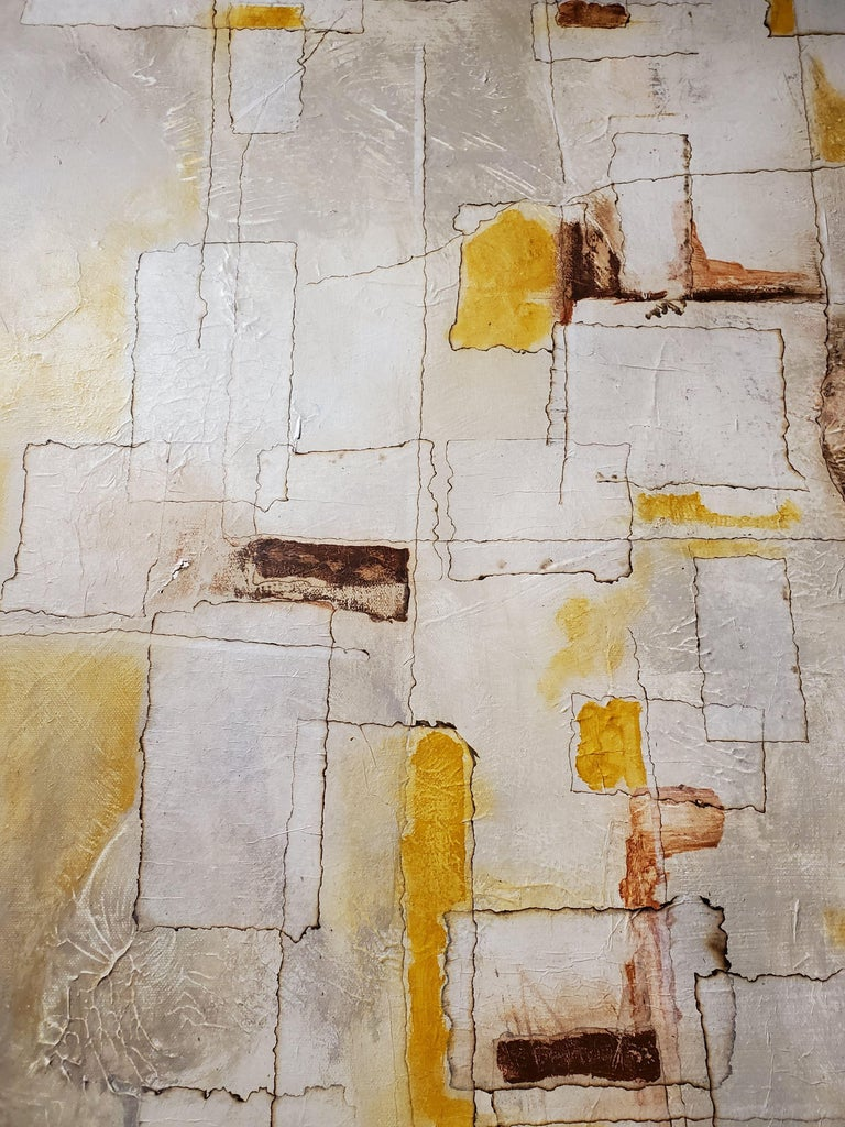 American Reflections, 2018, Abstract Mixed-Media Painting on Canvas, Yellow, Brown, Gray For Sale