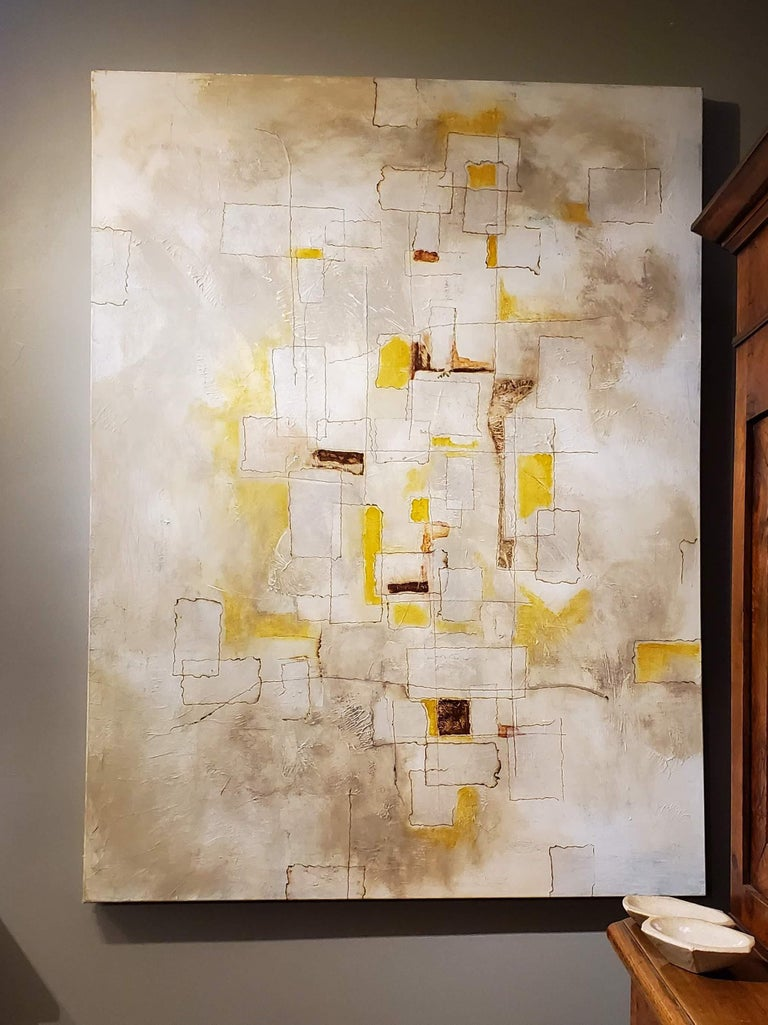 Reflections, 2018, Abstract Mixed-Media Painting on Canvas, Yellow, Brown, Gray In New Condition For Sale In Middleburg, VA