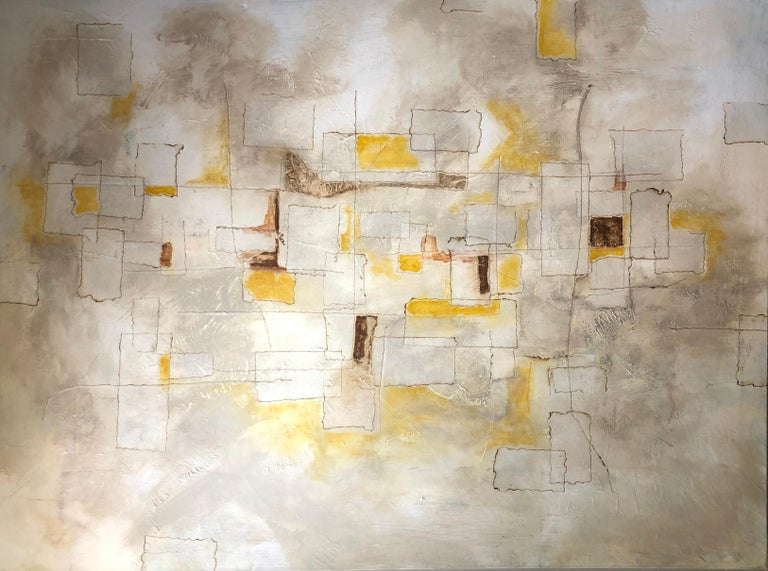 Contemporary Reflections, 2018, Abstract Mixed-Media Painting on Canvas, Yellow, Brown, Gray For Sale