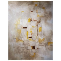 Reflections, 2018, Abstract Mixed-Media Painting on Canvas, Yellow, Brown, Gray
