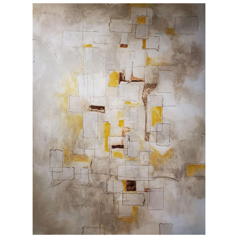 Reflections, 2018, Abstract Mixed-Media Painting on Canvas, Yellow, Brown, Gray For Sale