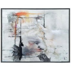 """Reflections,"" Black, White and Gray Abstract Painting by Kathi Robinson Frank"