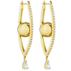 Reflections Hoops, 18 Karat Yellow Gold and White Diamonds, Medium