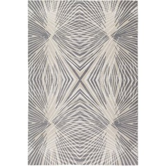 Reflections Silver Hand-Knotted 10x8 Rug in Wool and Silk by Allegra Hicks