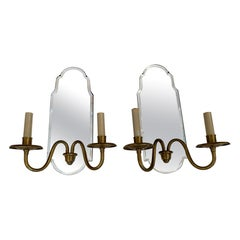 Reflective Pair of Mirrored and Brass Electrified Candle Sconces
