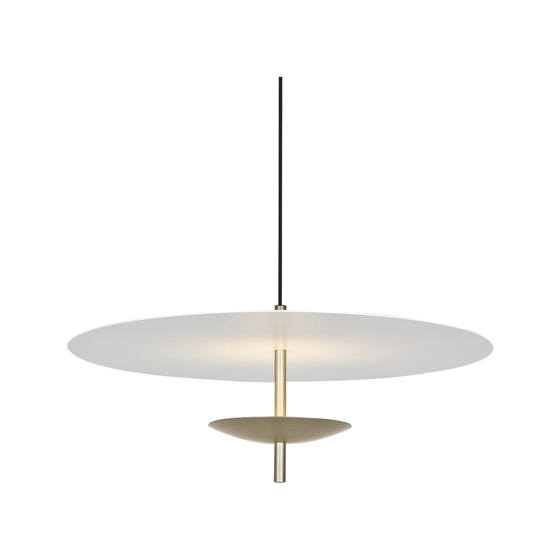 Reflector LED Pendant Light, Anodised Aluminum, Satin Gold, White Shade