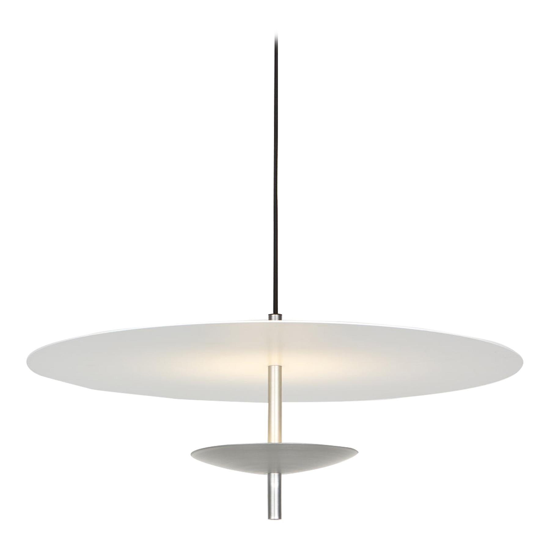 Reflector LED Pendant Light, Anodised Aluminum, Silver, White Shade