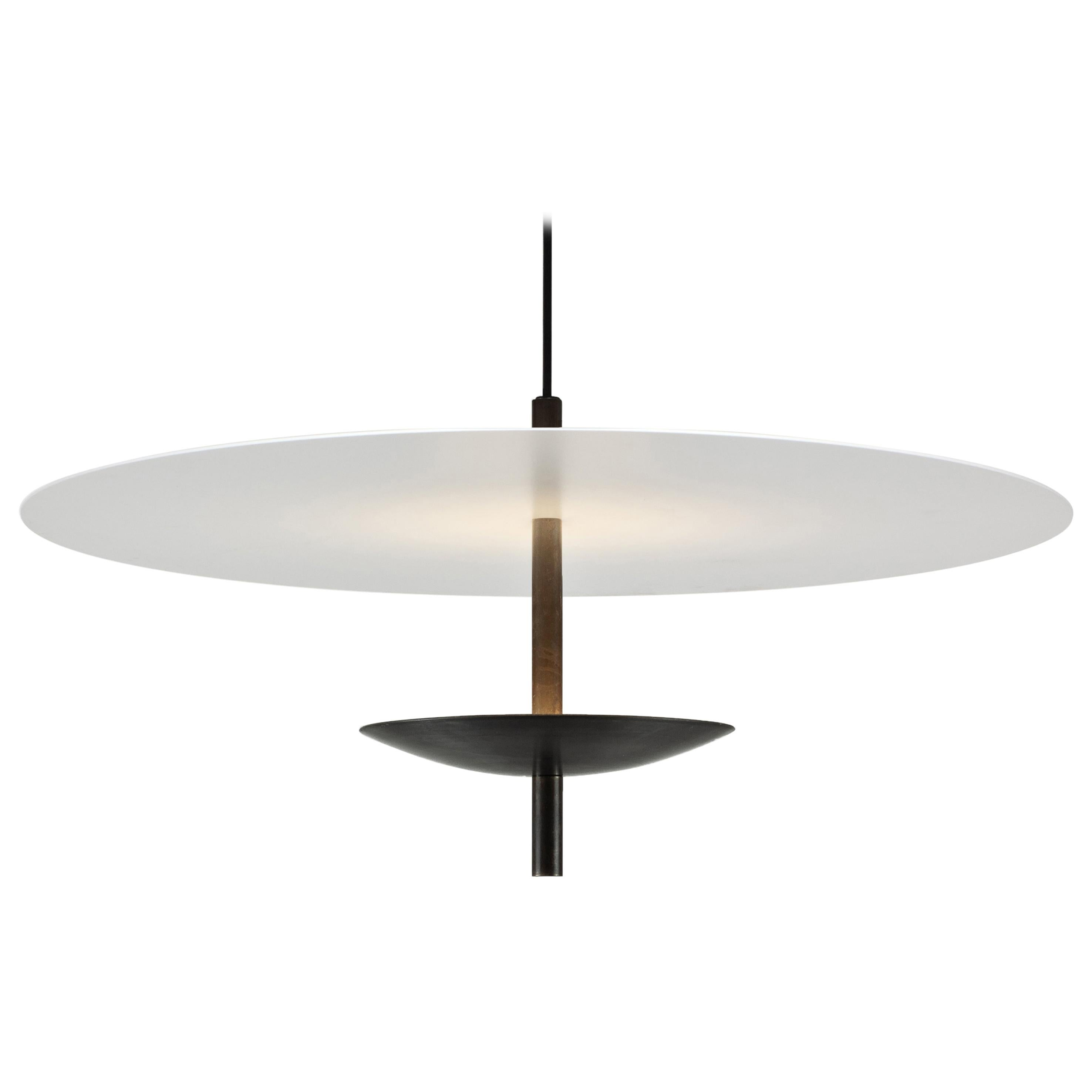 Reflector LED Pendant Light, Bronze Patina, White Shade