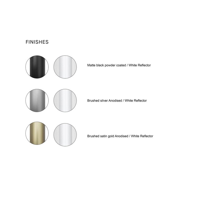 Reflector Linear LED Anodized Aluminum Pendant Light, Black / White Shade For Sale 5