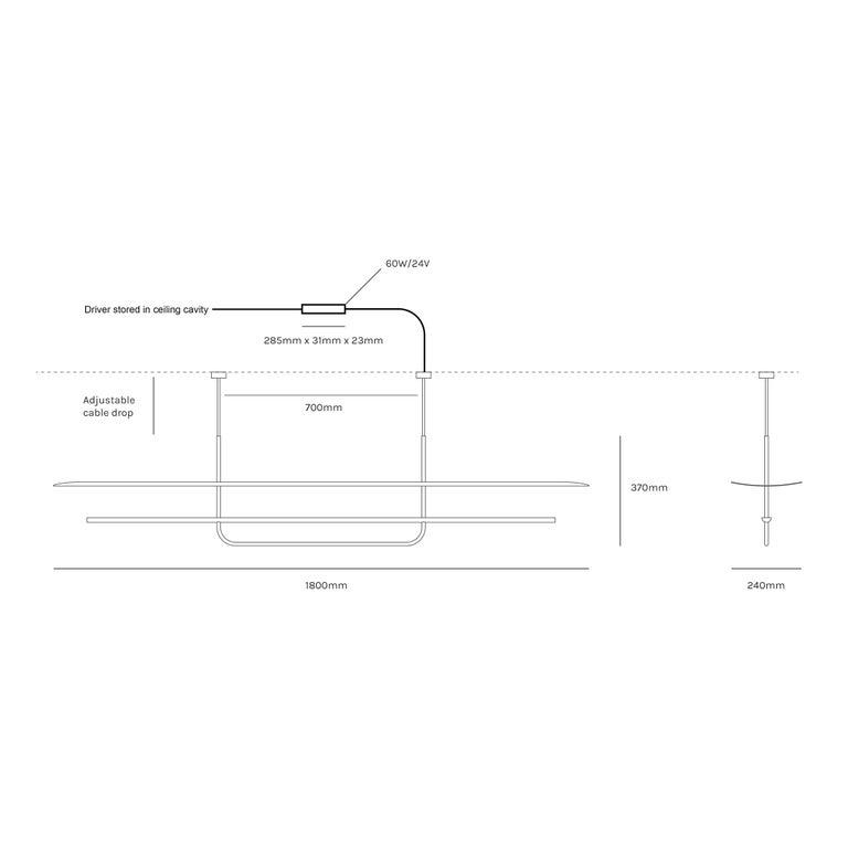 Reflector Linear LED Anodized Aluminum Pendant Light, Black / White Shade For Sale 7