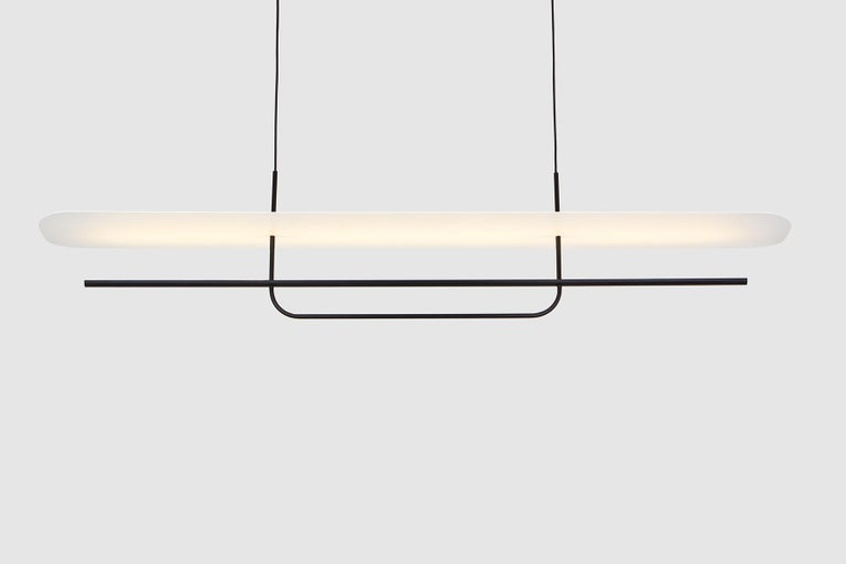 Modern Reflector Linear LED Anodized Aluminum Pendant Light, Black / White Shade For Sale