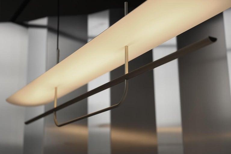 Oceanic Reflector Linear LED Anodized Aluminum Pendant Light, Black / White Shade For Sale