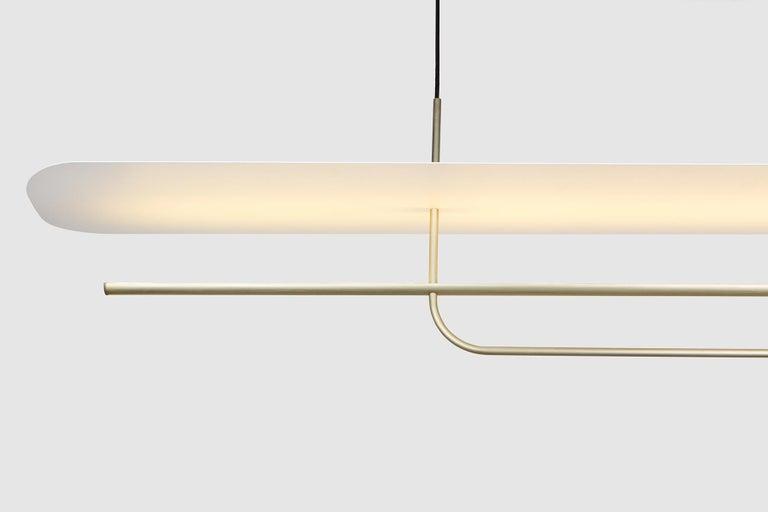 Machine-Made Reflector Linear LED Anodized Aluminum Pendant Light, Black / White Shade For Sale