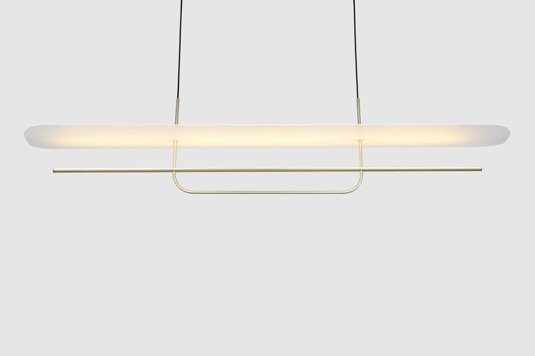 Reflector Linear LED Anodized Aluminum Pendant Light, Black / White Shade In New Condition For Sale In Broadmeadows, Victoria