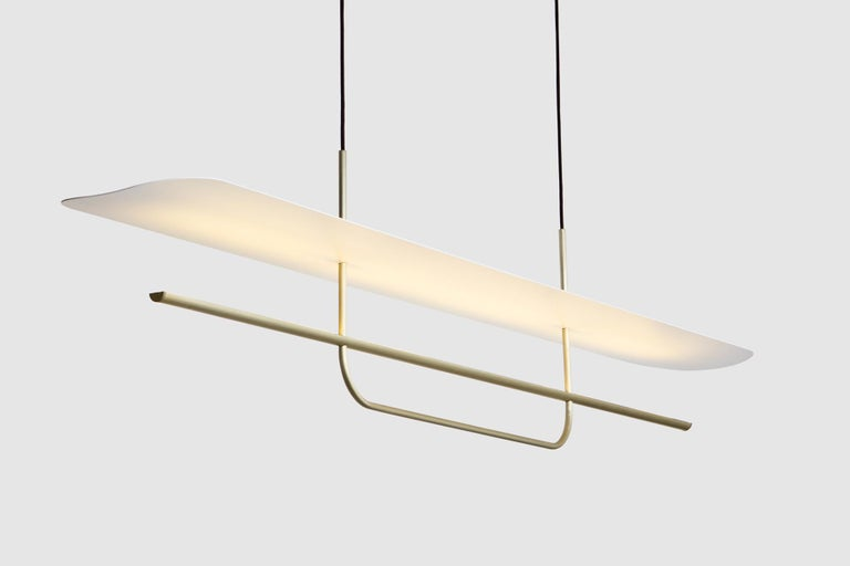 Contemporary Reflector Linear LED Anodized Aluminum Pendant Light, Black / White Shade For Sale