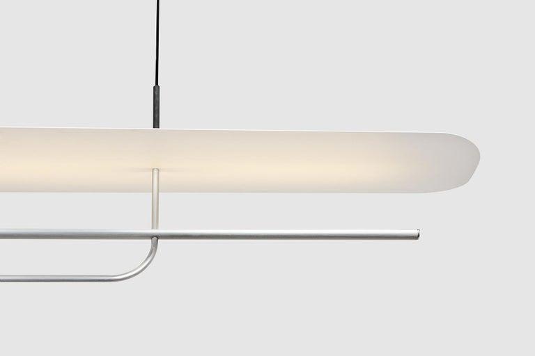 Reflector Linear LED Anodized Aluminum Pendant Light, Black / White Shade For Sale 1
