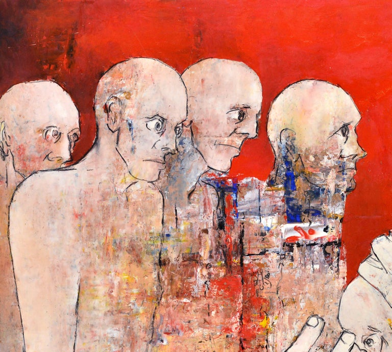 French Reflexion, circa 1968 on a vermillon red background few figures standing . For Sale