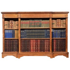 Reformed Gothic Oak Open Breakfront Bookcase