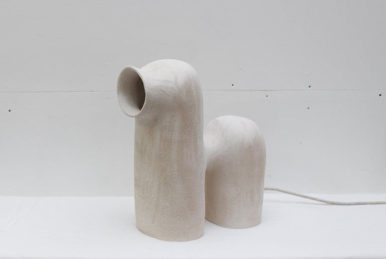 Refuge Black Stoneware Table Lamp by Elisa Uberti For Sale 4