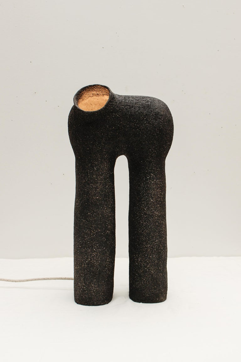 Refuge Black Stoneware Table Lamp by Elisa Uberti In New Condition For Sale In Geneve, CH