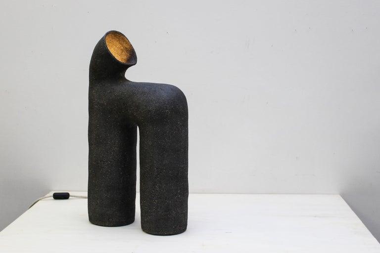 Refuge Black Stoneware Table Lamp by Elisa Uberti For Sale 1