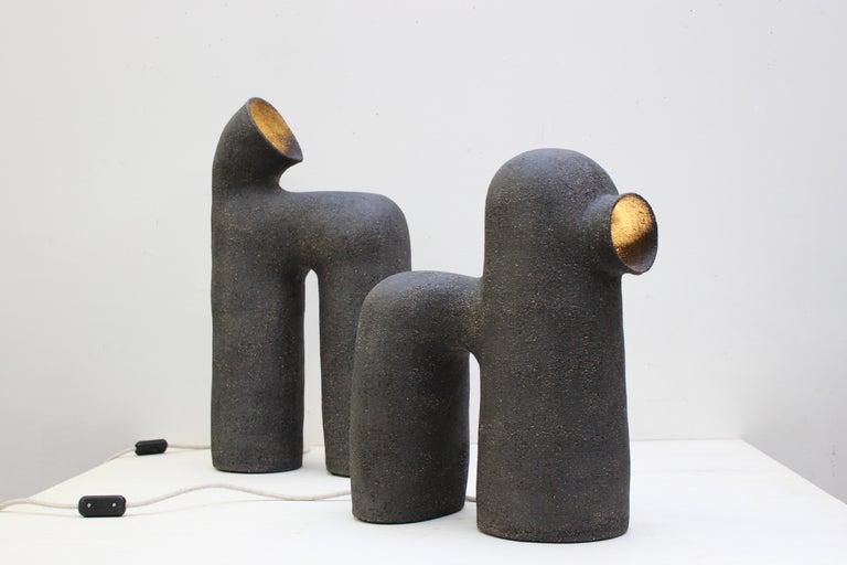 Refuge Black Stoneware Table Lamp by Elisa Uberti For Sale 3
