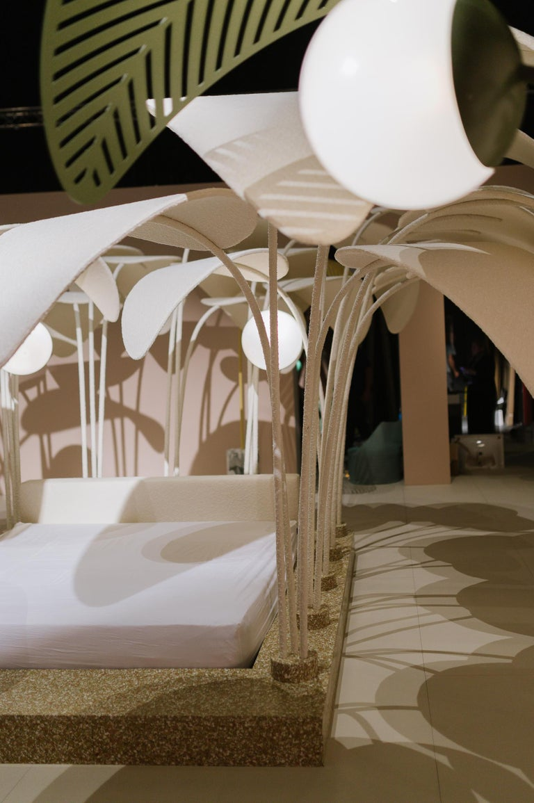Refuge De La Nuit Bed by Marc Ange with Terrazzo Base and Upholstered Leaves For Sale 1