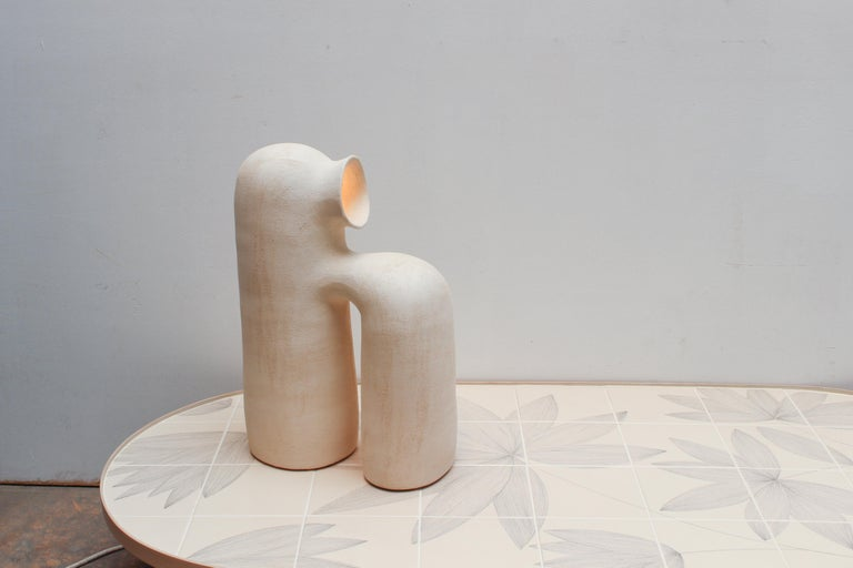 Refuge White Stoneware Table Lamp by Elisa Uberti In New Condition For Sale In Geneve, CH