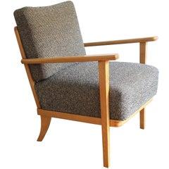 Refurbished Thonet Armchair with Original Fabric Refurbished Thonet Armchair