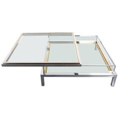 Refurbished Very Large Maison Jansen Brass and Chrome Vitrine Coffee Table, 1970