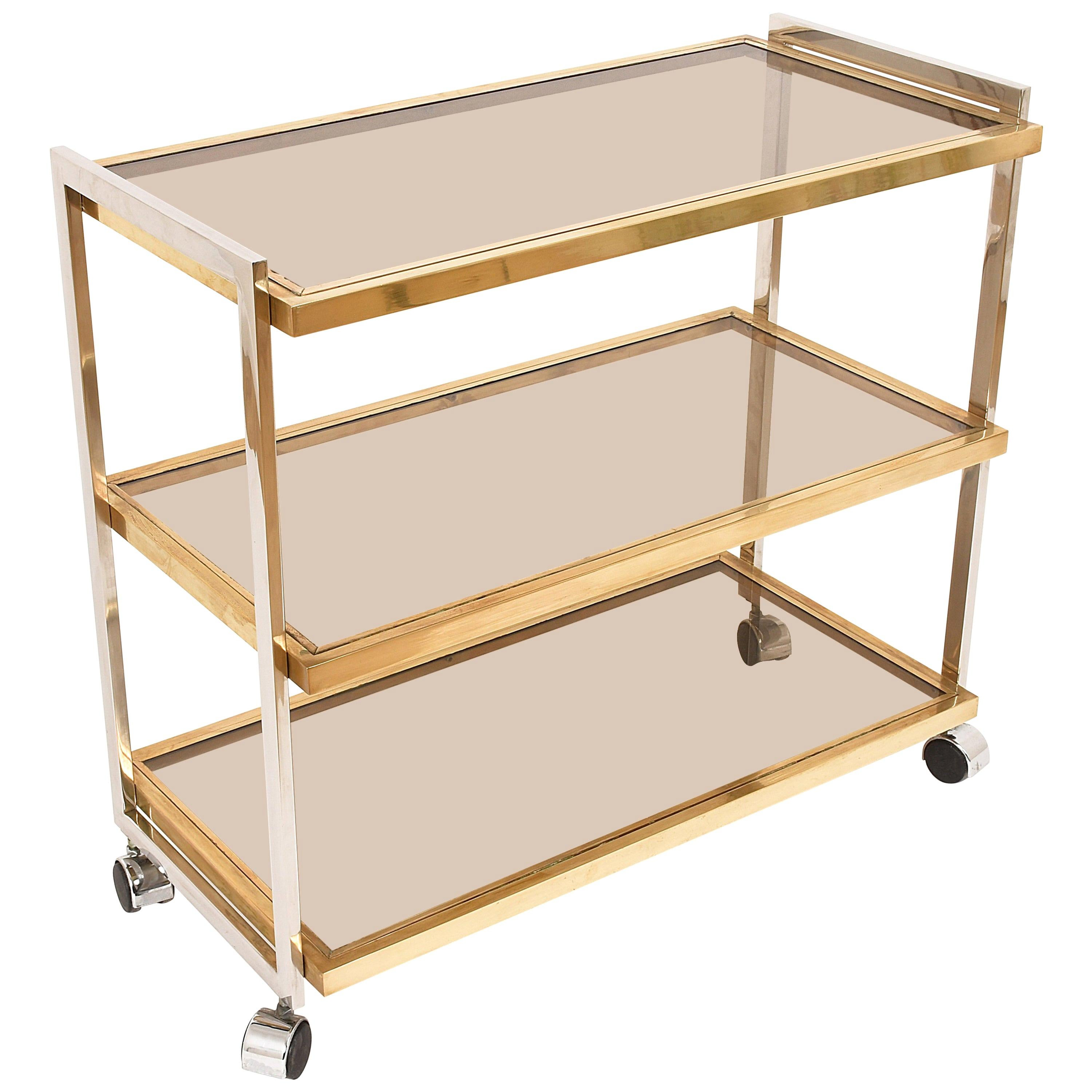 Elegant Bar Cart In Brass And Chrome Three Glass Shelves Rega Style Italy For Sale At 1stdibs