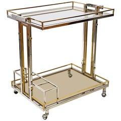Rega Style Midcentury Brass and Chrome Italian Bar Cart with Glass Shelves 1970s