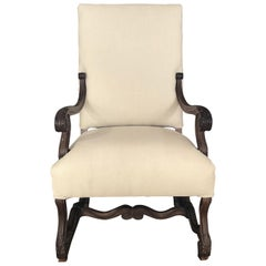 Regal 19th Century French Walnut Louis XV Armchair