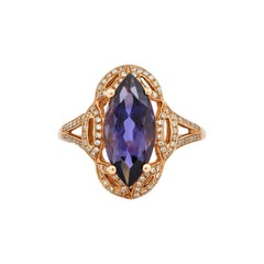 Regal 2.7 Carat Iolite Ring in 18 Karat Rose Gold