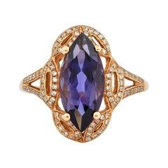 Regal 2.7 Carat Iolite Ring in 18 Karat Rose Gold