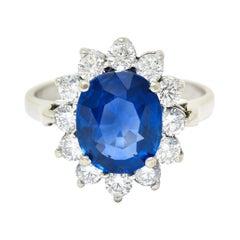 Regal 4.55 Carats Sapphire Diamond 14 Karat White Gold Cluster Ring