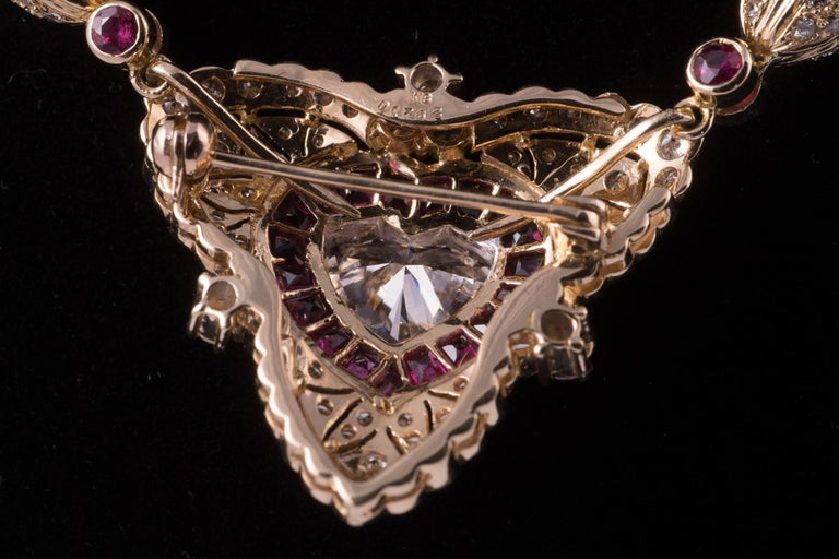 Women's or Men's Regal Diamond Heart Necklace with Ruby and Diamonds in 18 Karat Gold For Sale