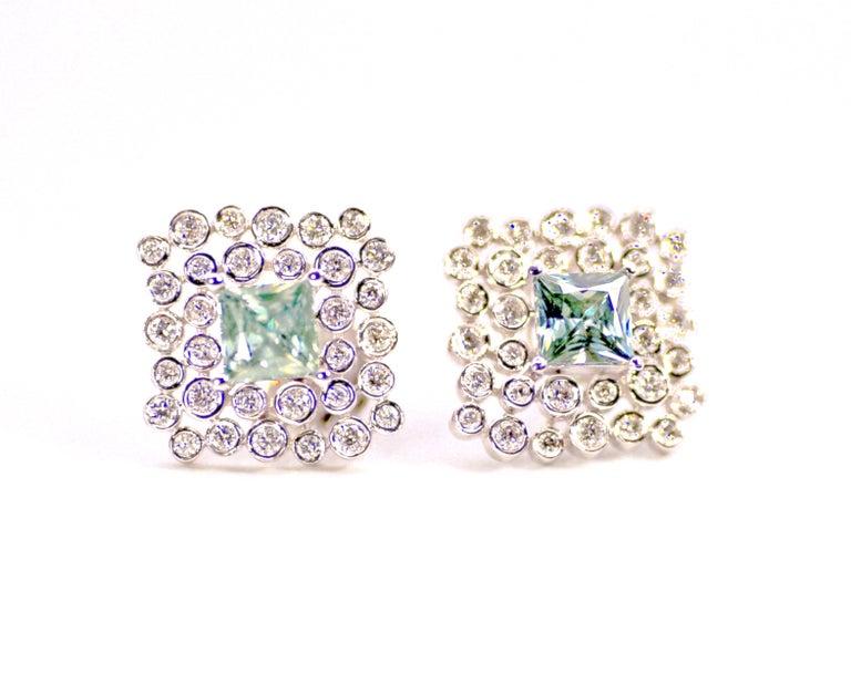 Modern Regal Diamond Large Earrings For Sale