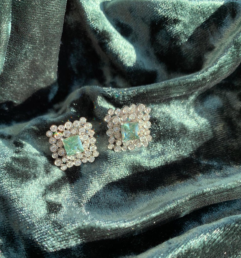 Round Cut Regal Diamond Large Earrings For Sale